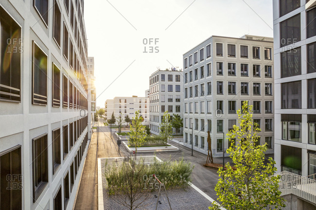 August 30, 2017: Modern high-rise residential building in Munich- Germany