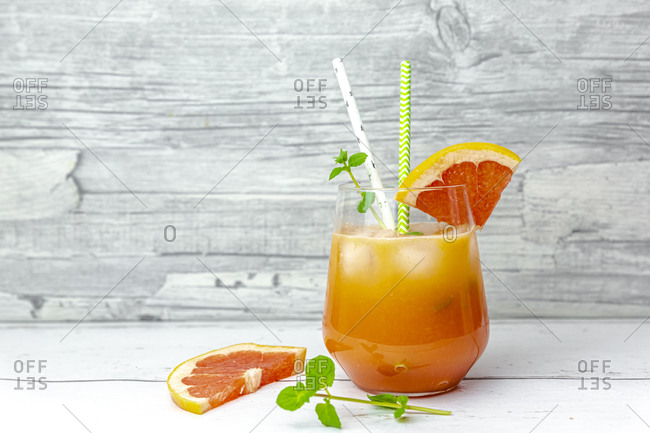 Glass of non-alcoholic grapefruit cocktail