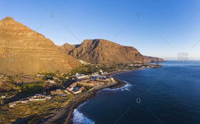 Spain- Santa Cruz de Tenerife- Valle Gran Rey- Clear sky over coastal town on La Gomera island