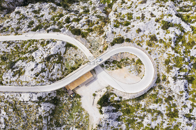 Spain- Balearic Islands- Sa Calobra- Drone view of Ma-2141 highway in Serra de Tramuntana range