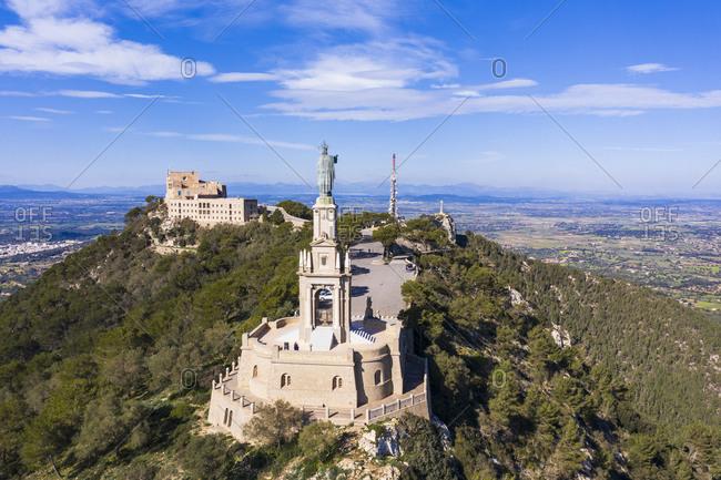 Spain- Balearic Islands- Felanitx- Drone view of Jesus Christ monument at Sanctuary of Sant Salvador