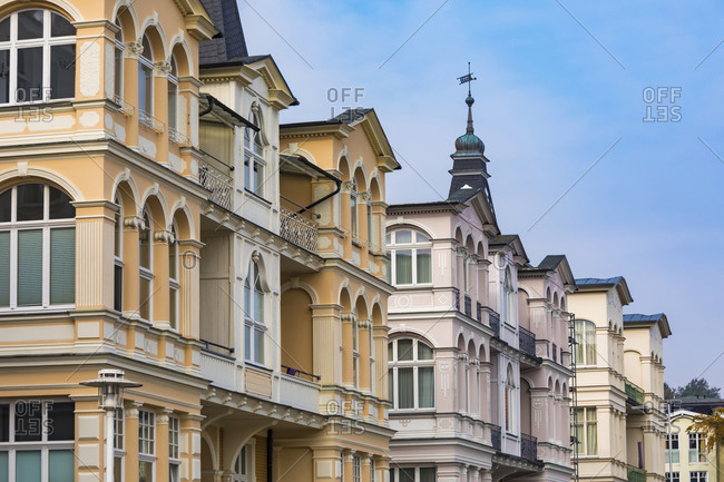 Germany- Mecklenburg-Western Pomerania- Heringsdorf- Row of Wilhelminian villas along Bergstrasse