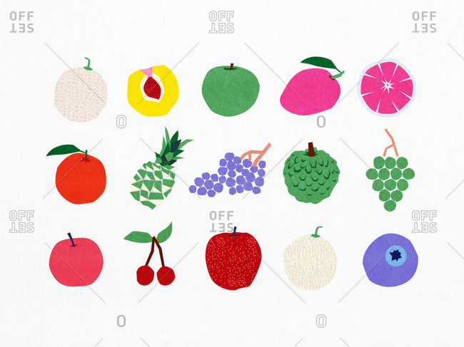 Pattern of fruit illustrations.