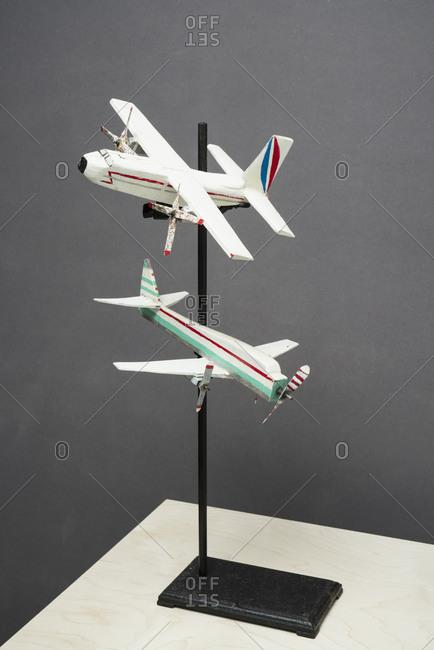 Model airplanes on display pedestal