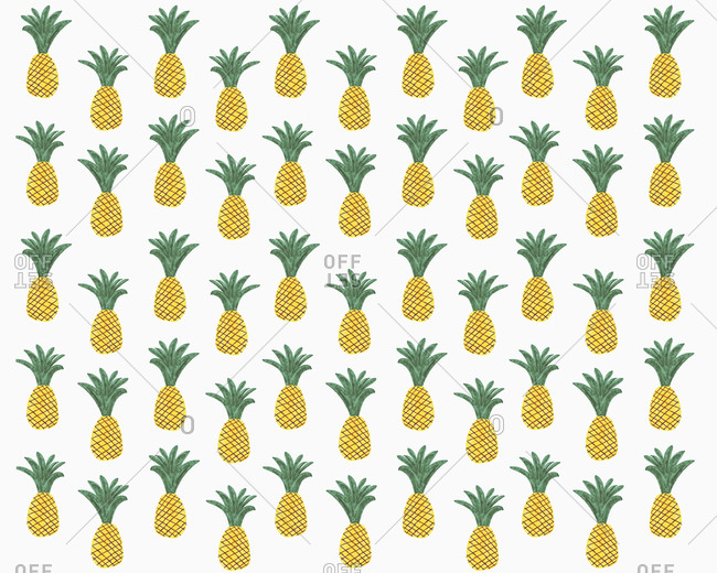 Illustration of pineapples on white background