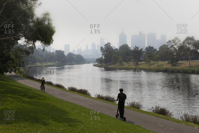 Bush fire smoke haze over Melbourne city and Yarra River, Australia
