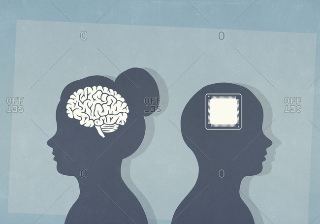 Brain and computer chip in silhouetted heads