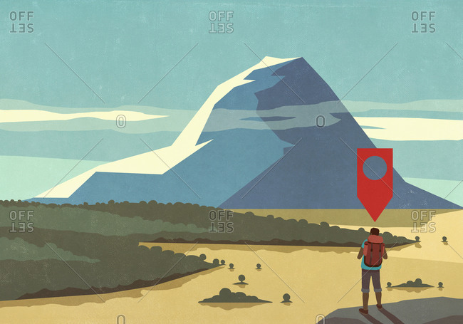 Map pin icon above man hiking, looking at majestic mountain landscape view
