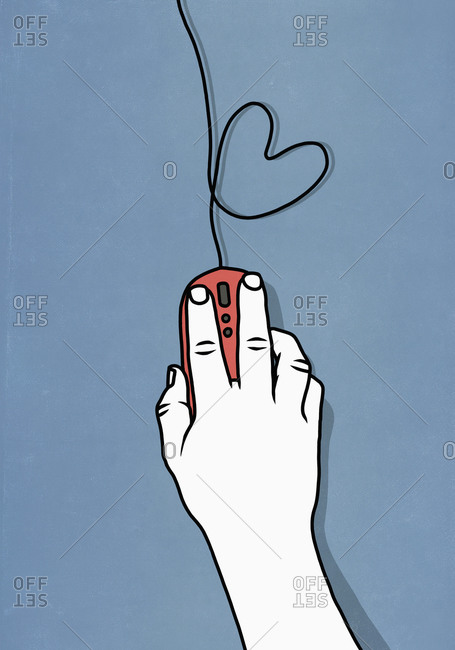 Online dating with computer mouse and heart shape