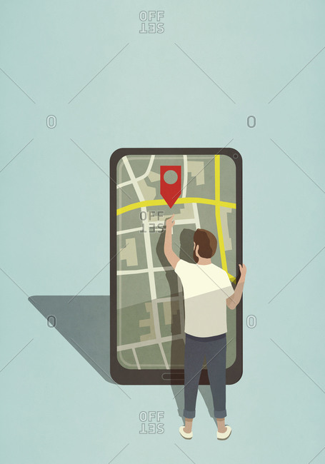 Man reaching for map pin icon on large smart phone