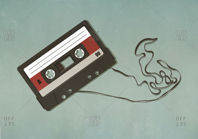 Illustrated of pulled cassette tape