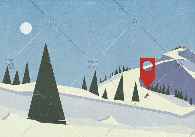 Location pin above skier on snowy mountain slope
