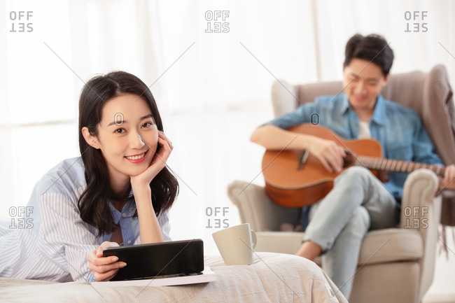A young couple enjoy leisure time