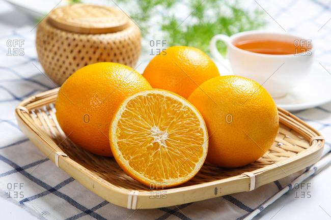 Orange hot drink nutritious afternoon tea