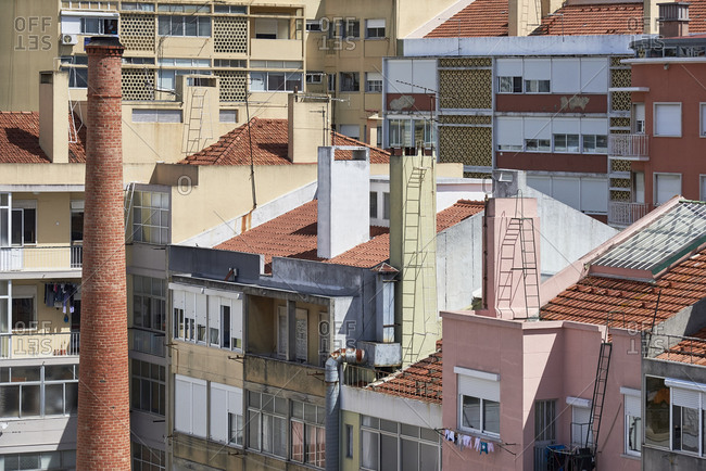 Elevated view over buildings in downtown Lisbon, Portugal