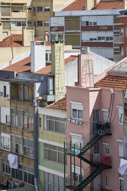 Elevated view over colorful buildings in downtown Lisbon, Portugal