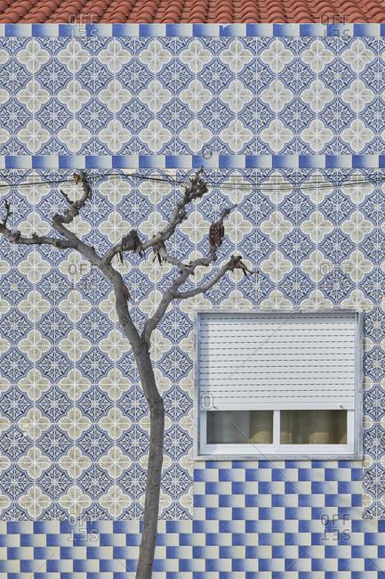 Cabanas de Tavira, Portugal - January 26, 2020: Home with decorated tile around window in Tavira, Algarve, Portugal