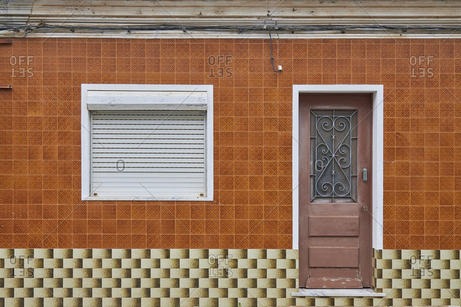 Cabanas de Tavira, Portugal - January 26, 2020: Home with decorated tile around window and door in Tavira, Algarve, Portugal