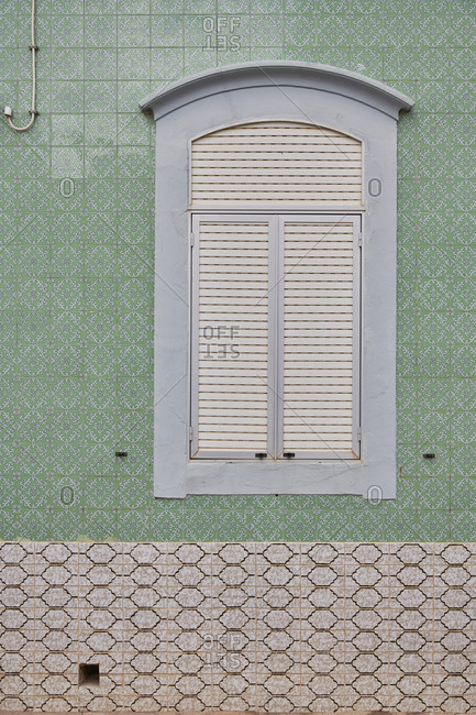 Cabanas de Tavira, Portugal - January 26, 2020: Home with decorated tile around window in Tavira, Algarve, Portugal