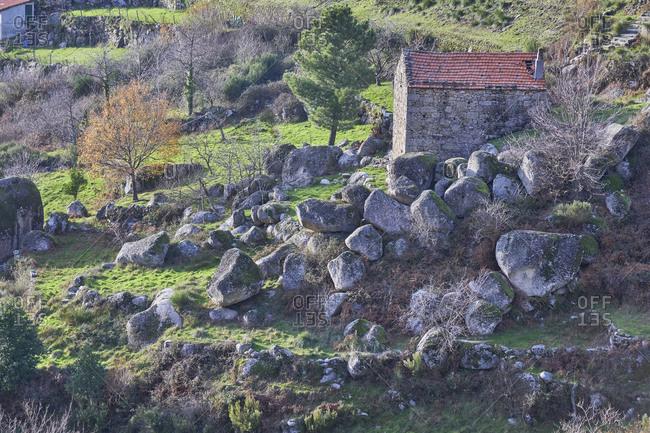Serra da Estrela, Portugal - December 24, 2019: Buildings in the Serra da Estrela Mountains