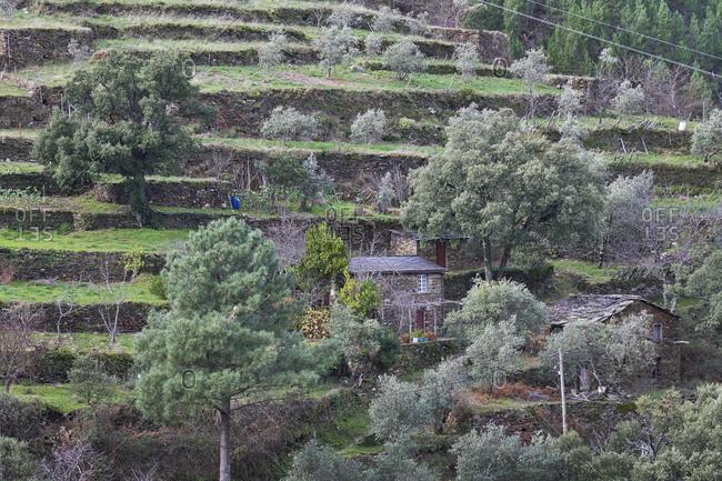 Serra da Estrela, Portugal - December 25, 2020: Building in the Serra da Estrela Mountains
