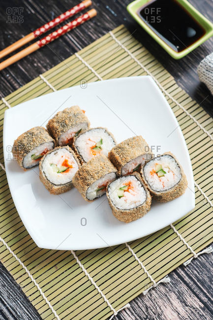 fresh fried sushi roll breaded for lunch at home food delivery
