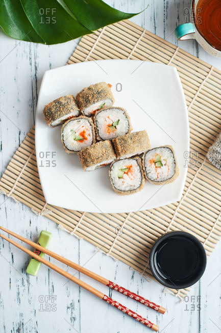 fried sushi roll breaded for lunch at home food delivery