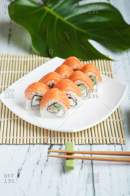 fresh salmon sushi rolls philadelphia for lunch at home