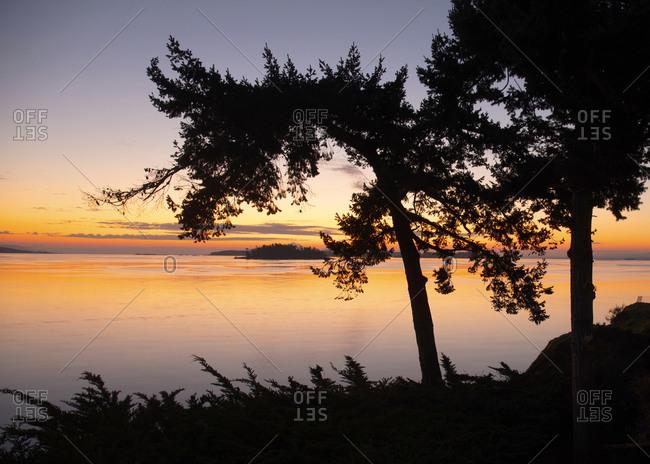 Sunrise on San Juan waterway, British Columbia, Canada