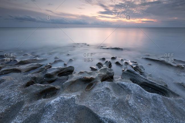 Evening seascape taken on St. Andrew beach near Ierapetra, Crete.