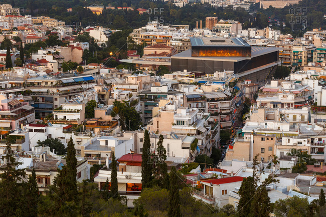 Acropolis museum and view of the city of Athens, Greece.