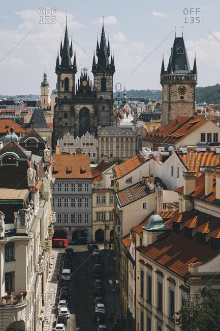 Prague, Czech Republic - July 27, 2018: View of the historical old town centre of Prague, Czech Republic.