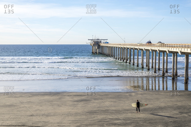 La Jolla Shores Beach and Scripps Pier. La Jolla, CA.