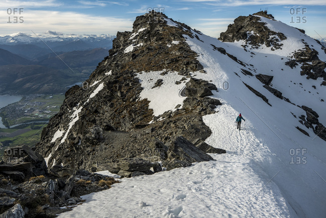 Alpine hiking in snow covered mountains, The Remarkables, New Zealand