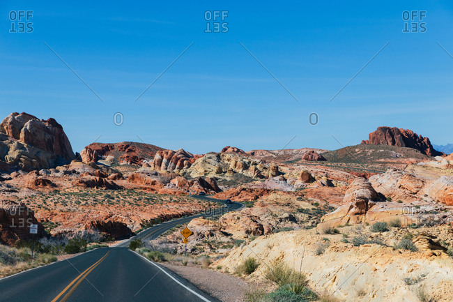 Road winding through the desert landscape
