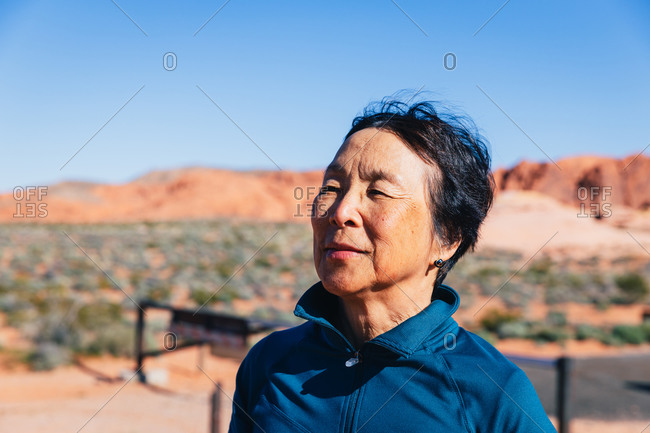 Senior Asian Woman in the Desert