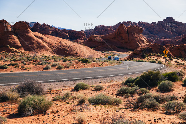 Road winding through the rocky desert landscape