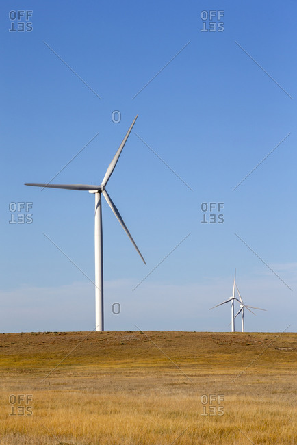 Wind Turbines in Colorado against blue sky