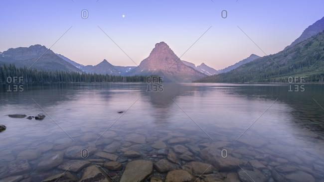 Sunrise from Two Medicine lake in Glacier National Park