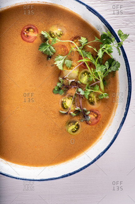 Overhead view of gazpacho soup on light background
