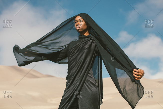 Young Muslim woman dressed in all black