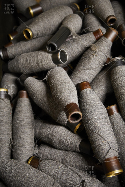 Spools of thread wrapped with wool