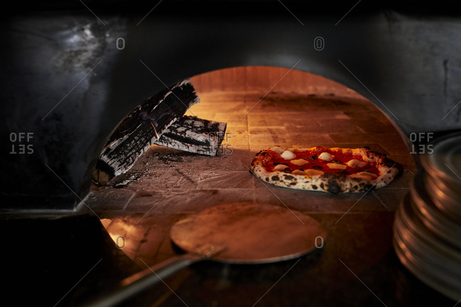 Pizza in commercial pizza oven