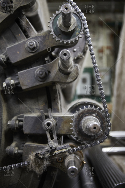 Gears on a machine in warehouse