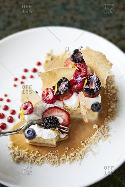 Fine dining dessert with fruit
