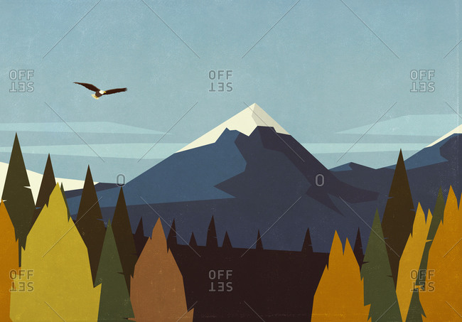 Bald eagle soaring over autumn forest and mountain landscape