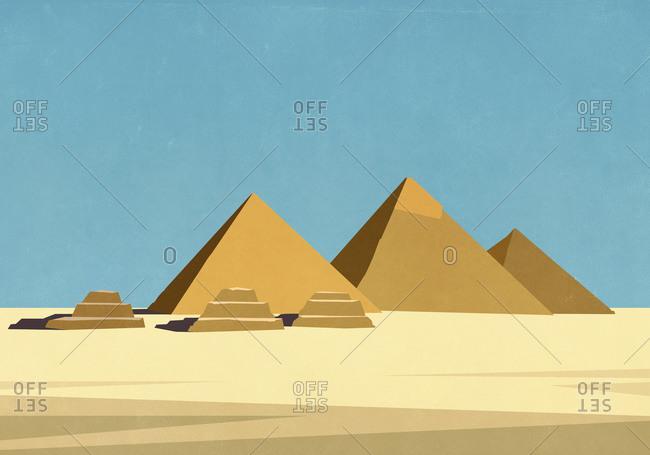 Egyptian pyramids in sunny desert
