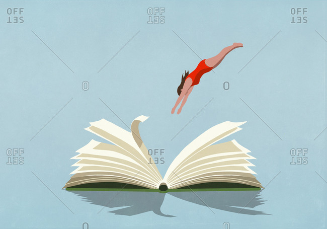 Woman in bathing suit diving into book