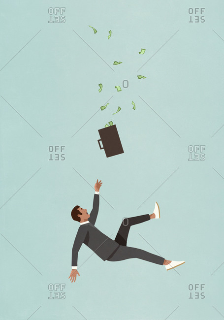 Investor with briefcase full of money falling