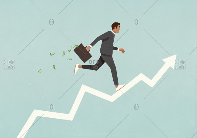 Male investor with briefcase full of money running up ascending arrow